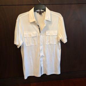 Michael Kors White Full Button-Up Polo, Never Worn